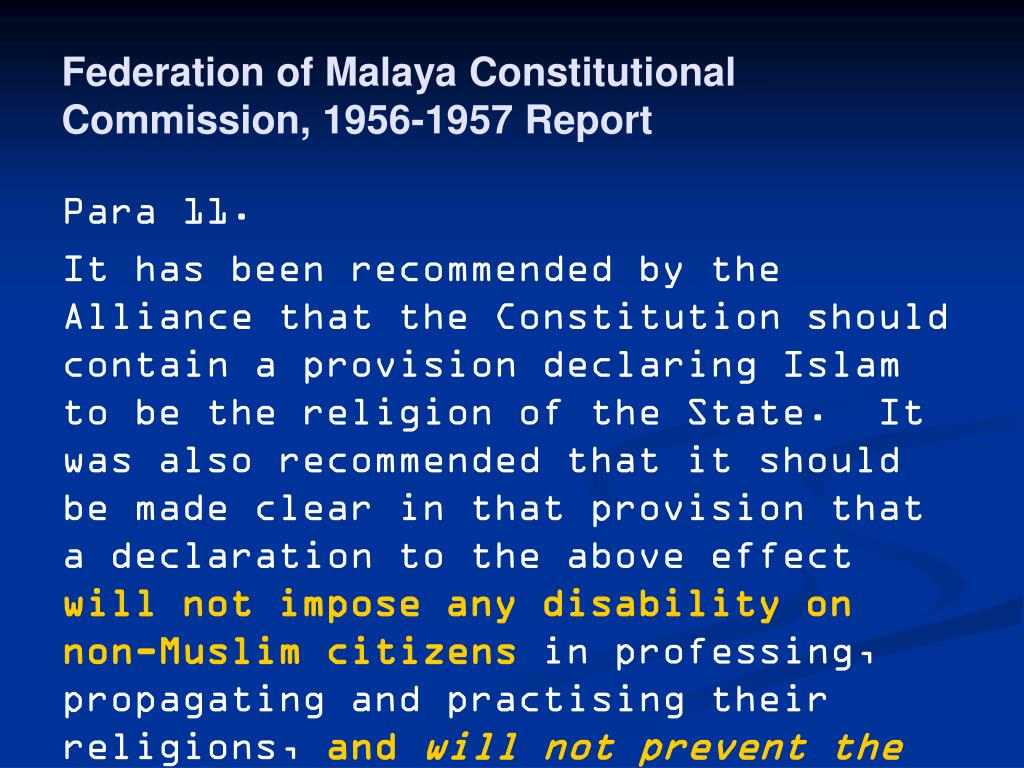 Federation of Malaya Constitutional Commission, 1956-1957 Report