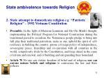 state ambivalence towards religion