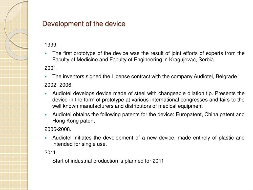 Development of the device