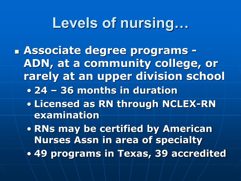 Levels of nursing…