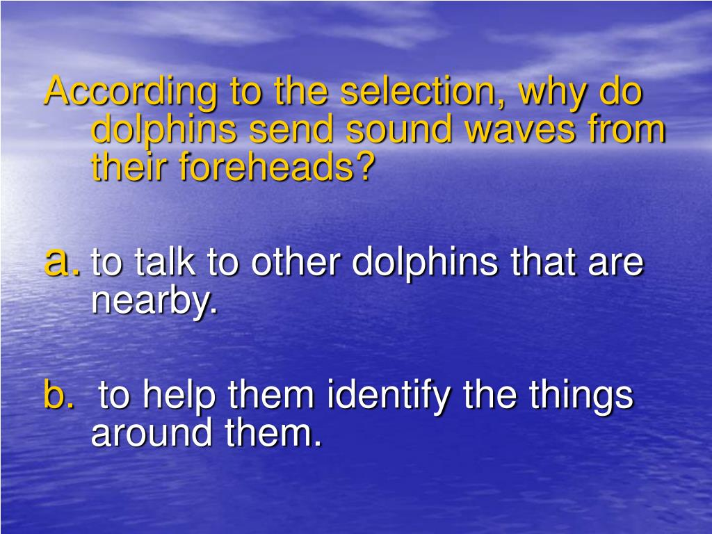 According to the selection, why do dolphins send sound waves from their foreheads?