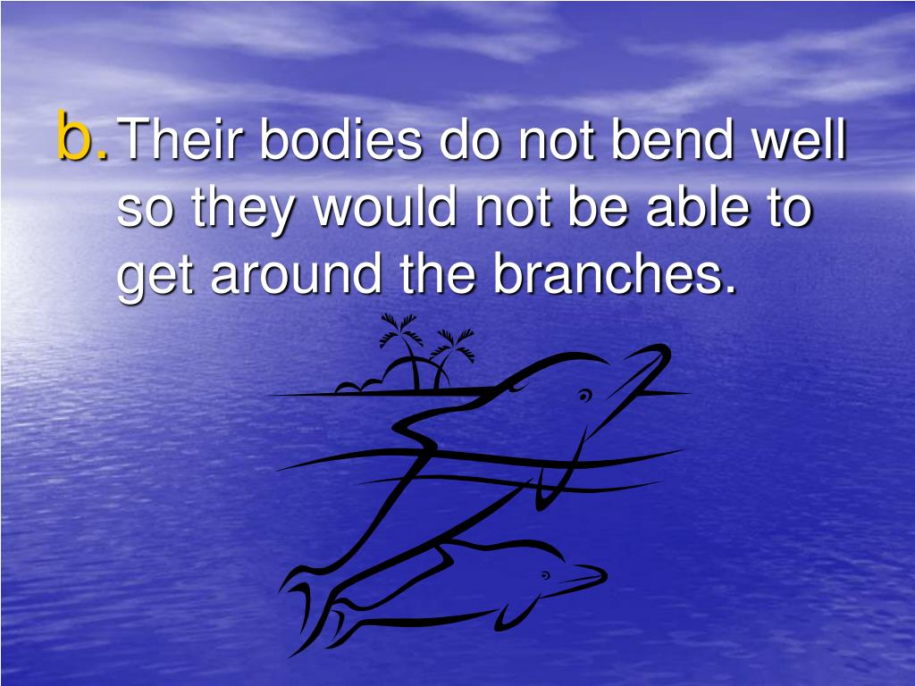 Their bodies do not bend well so they would not be able to get around the branches.