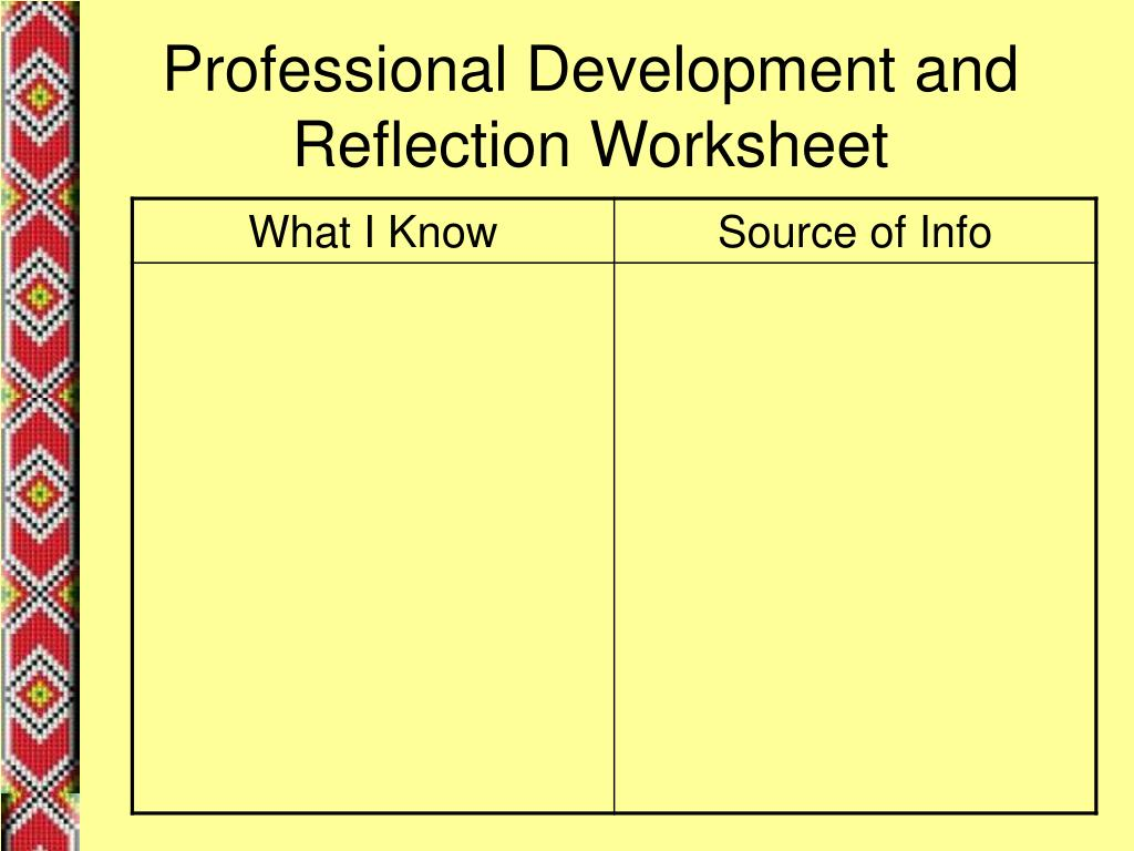 Professional Development and Reflection Worksheet