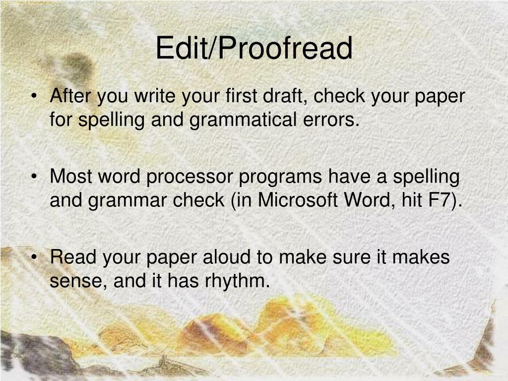 Edit/Proofread