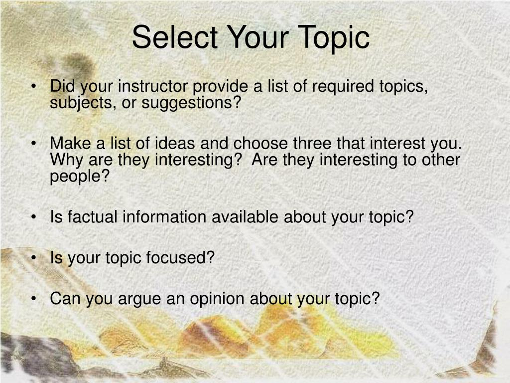 Select Your Topic