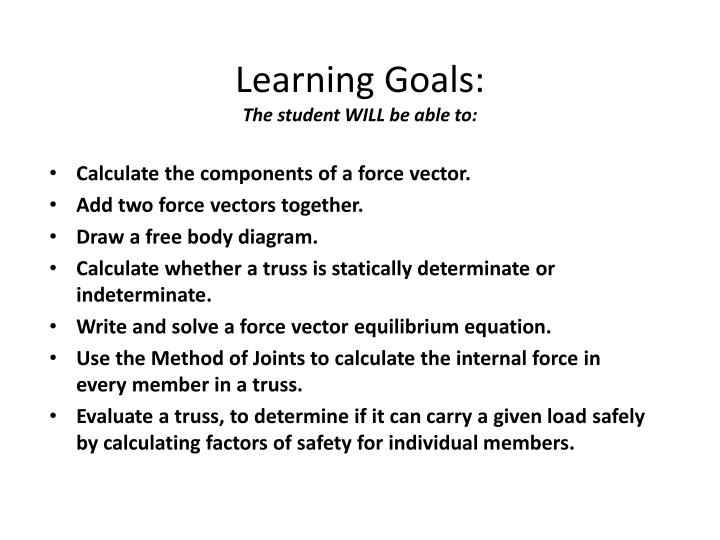 Learning goals the student will be able to