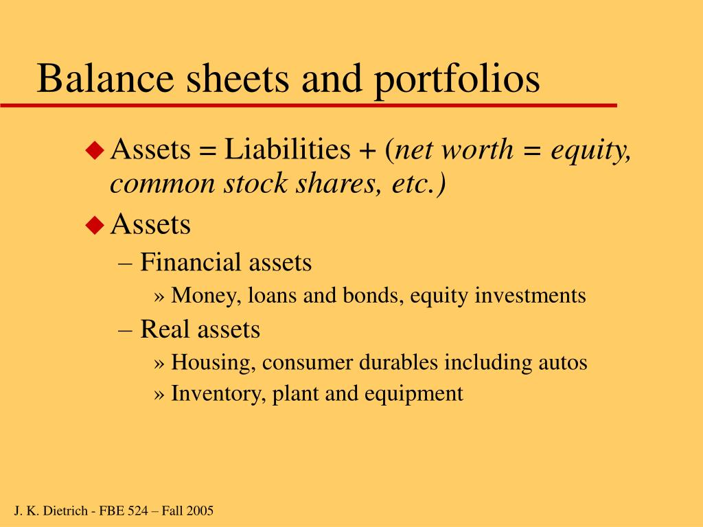 Balance sheets and portfolios