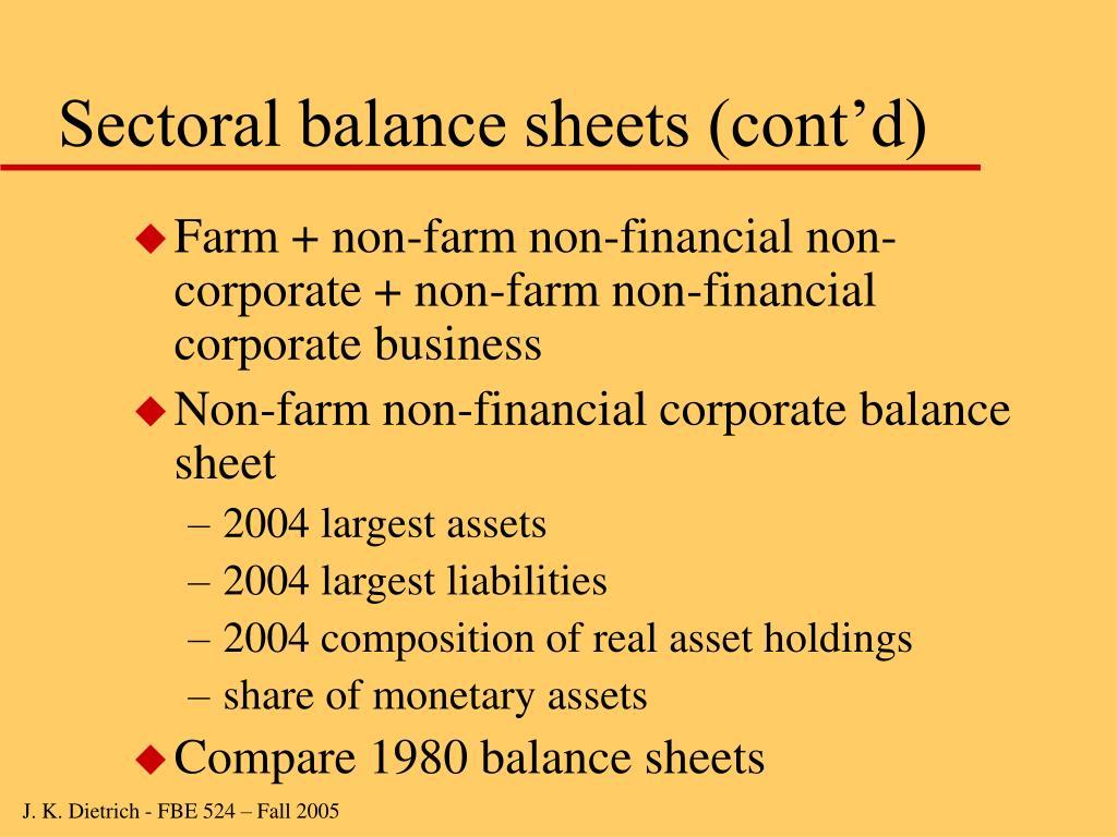 Sectoral balance sheets (cont'd)