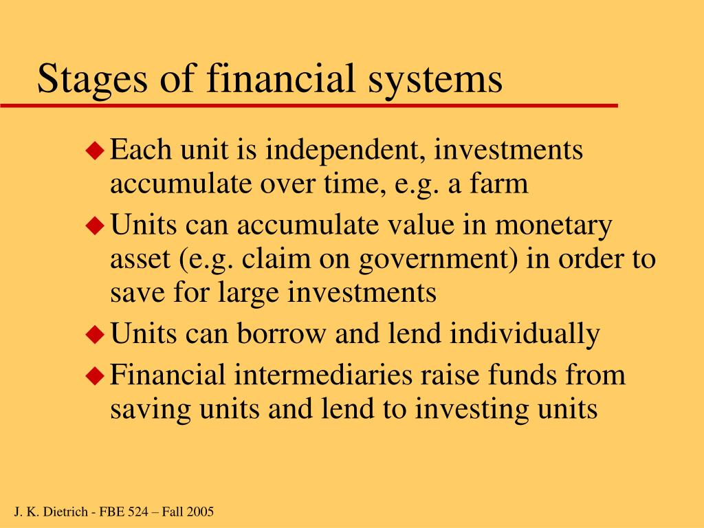 Stages of financial systems