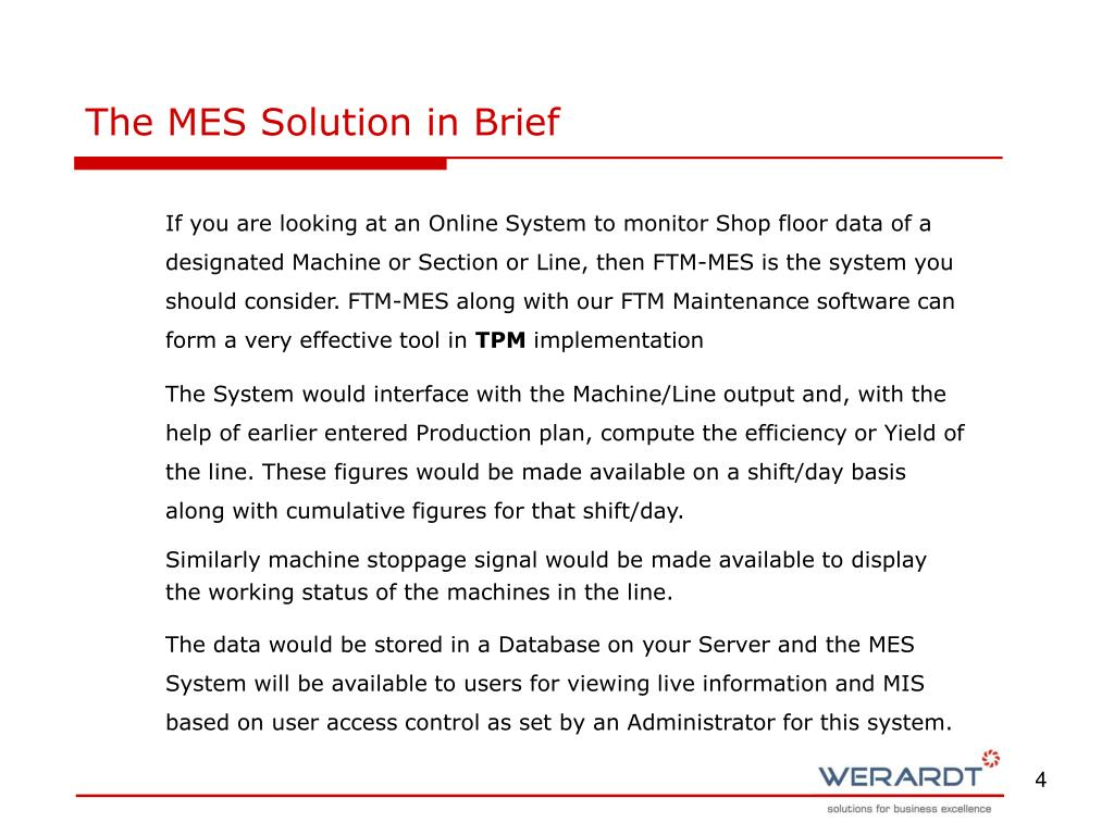 The MES Solution in Brief