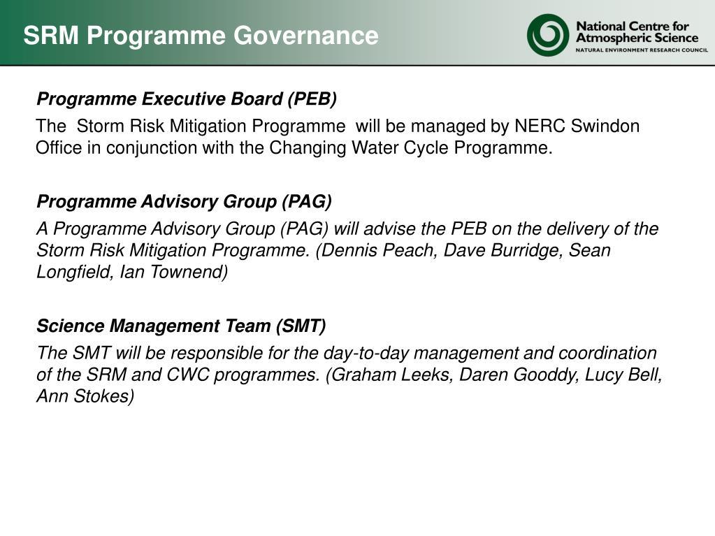 SRM Programme Governance