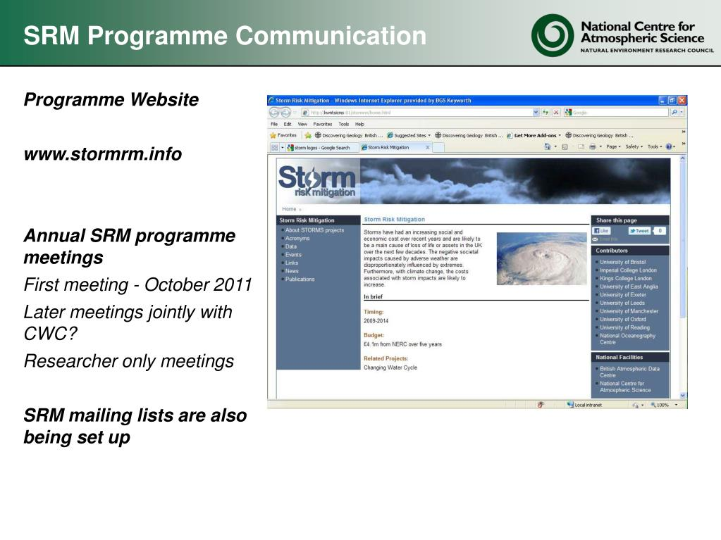 SRM Programme Communication