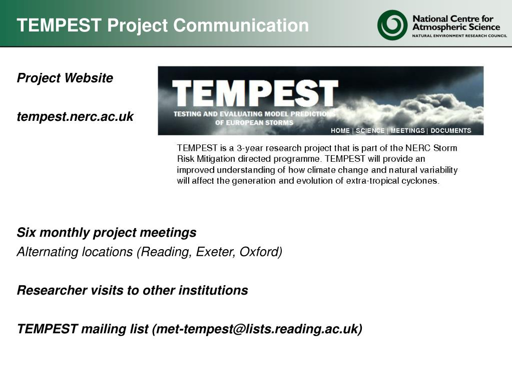 TEMPEST Project Communication