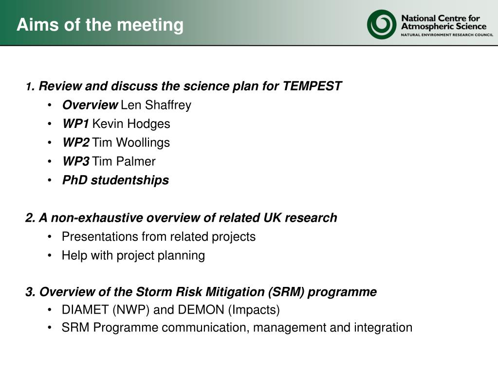 Aims of the meeting