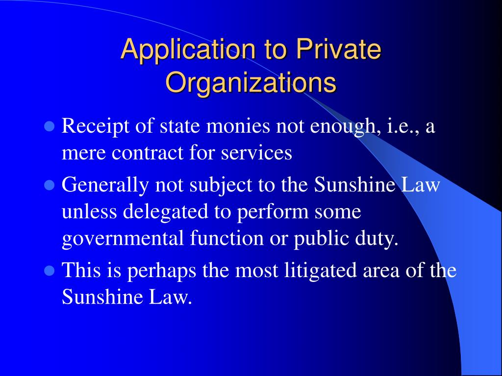 Application to Private Organizations