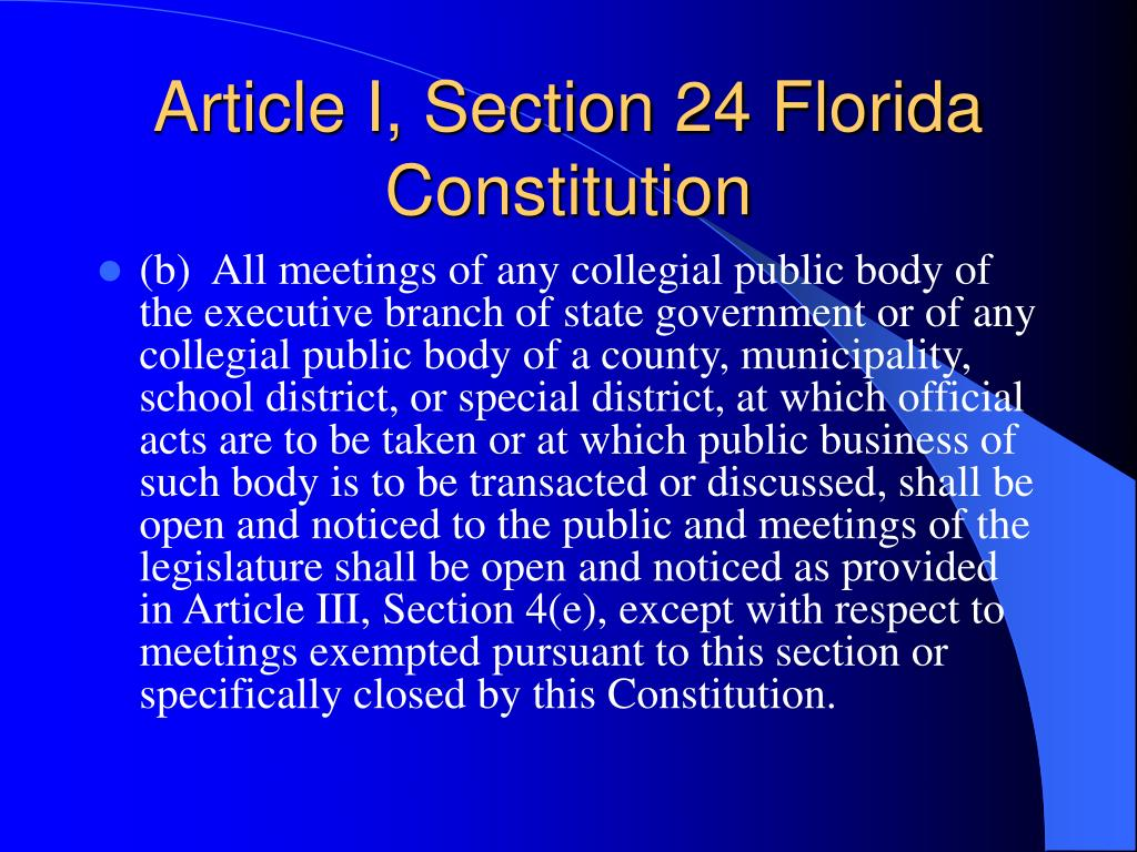 Article I, Section 24 Florida Constitution