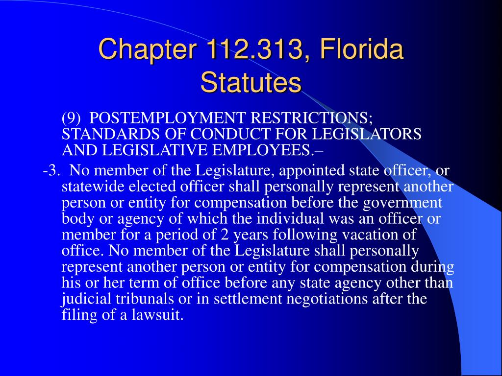 Chapter 112.313, Florida Statutes