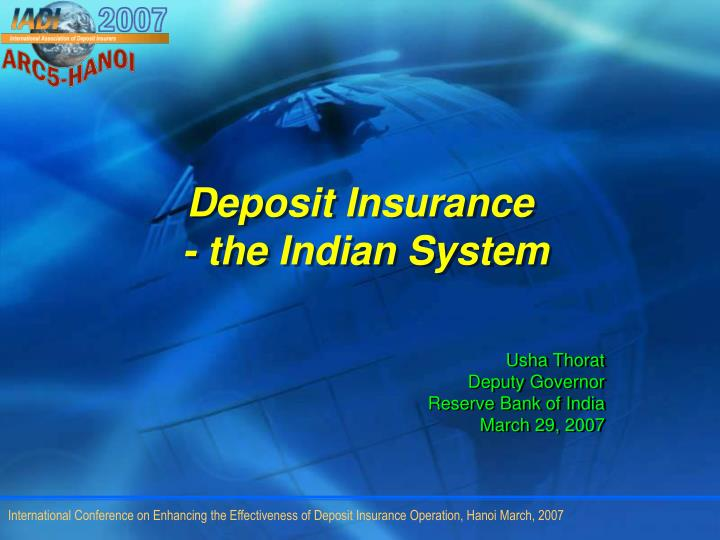 Deposit insurance the indian system