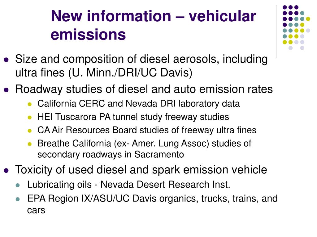 Size and composition of diesel aerosols, including ultra fines (U. Minn./DRI/UC Davis)