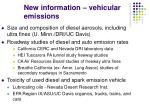 new information vehicular emissions