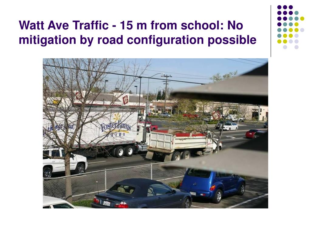Watt Ave Traffic - 15 m from school: No mitigation by road configuration possible