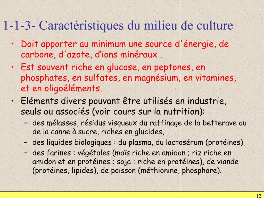 1-1-3- Caractéristiques du milieu de culture
