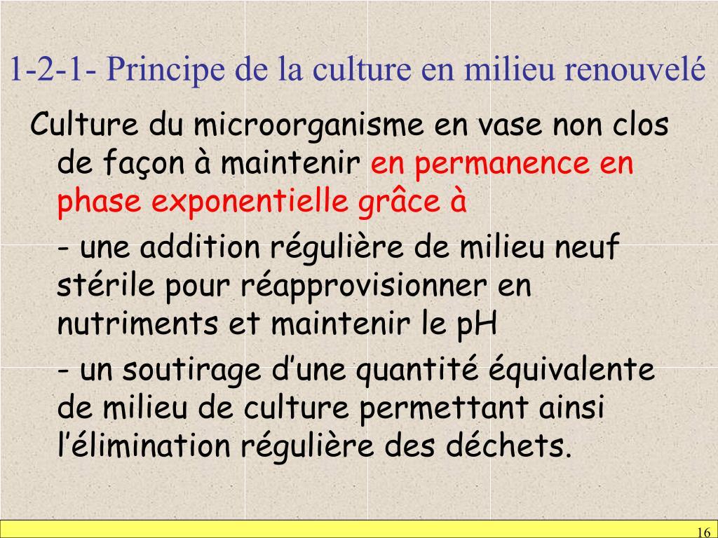 1-2-1- Principe de la culture en milieu renouvelé