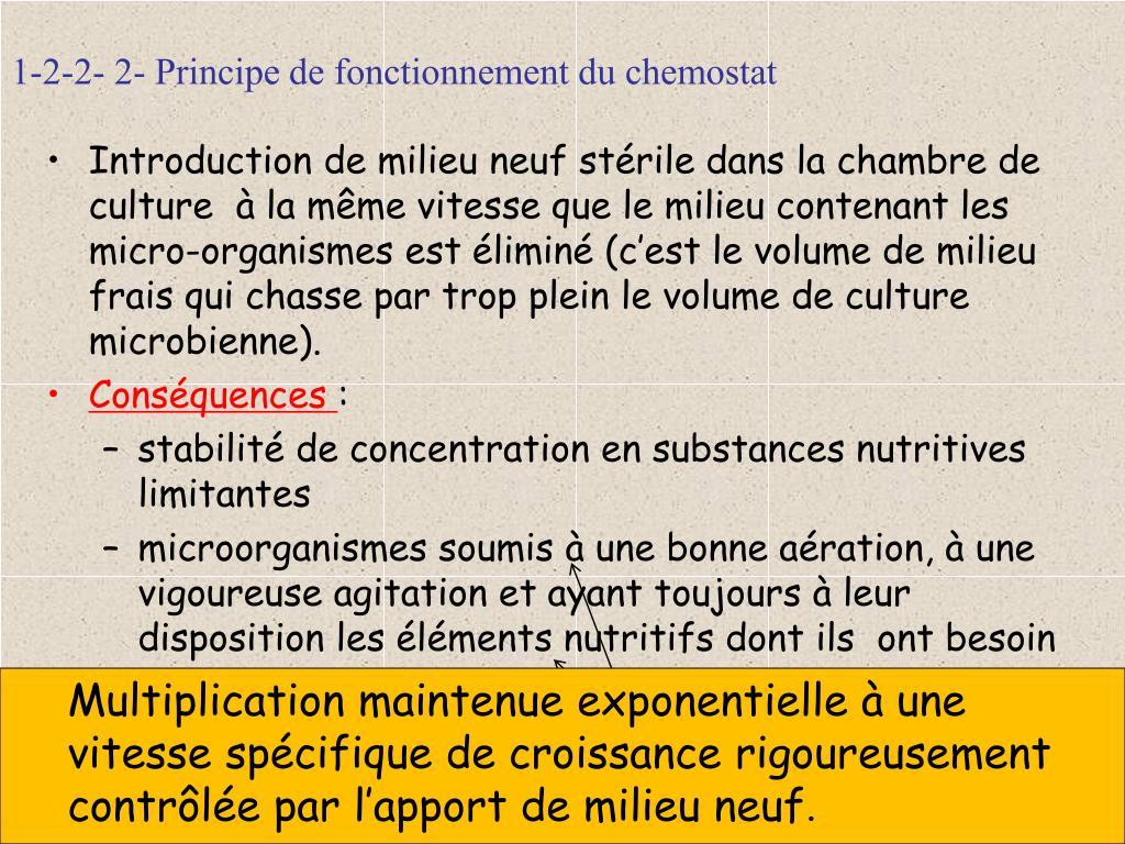 1-2-2- 2- Principe de fonctionnement du chemostat