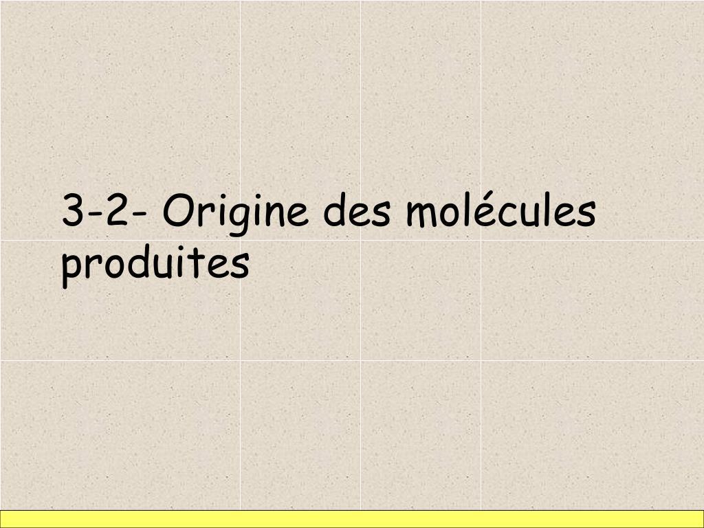 3-2- Origine des molécules produites