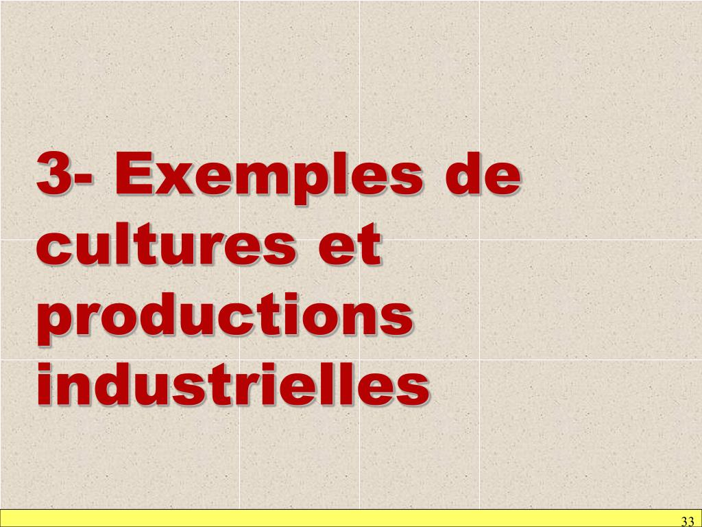 3- Exemples de cultures et productions industrielles