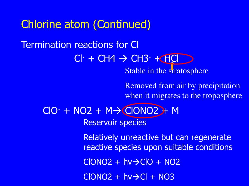 Chlorine atom (Continued)