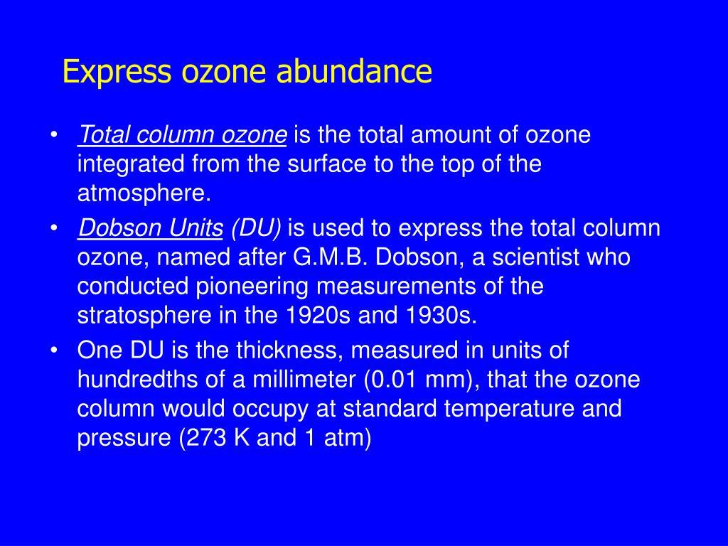 Express ozone abundance