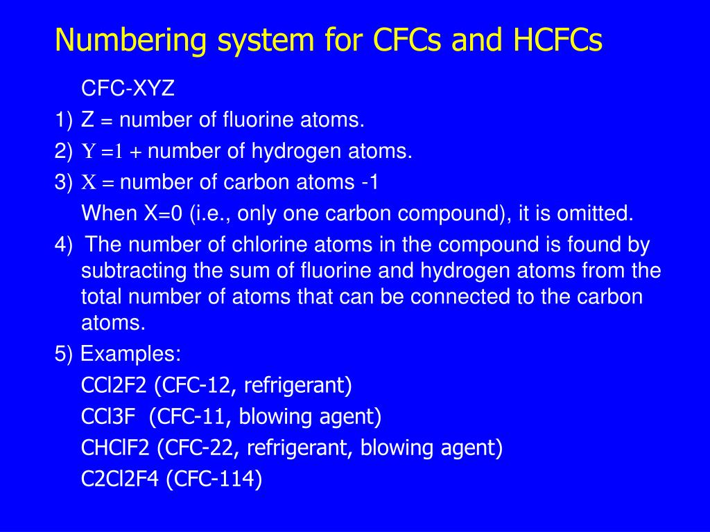 Numbering system for CFCs and HCFCs