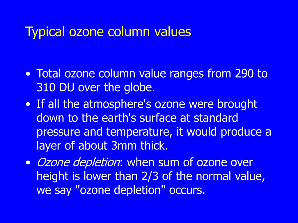 Typical ozone column values
