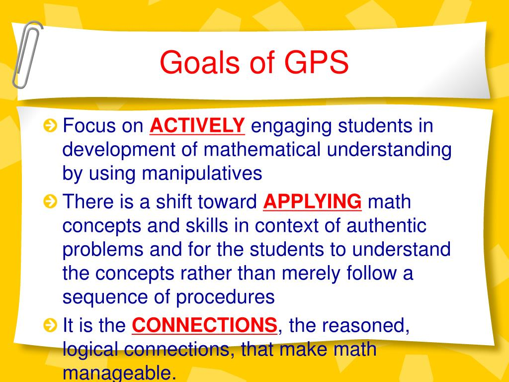 Goals of GPS