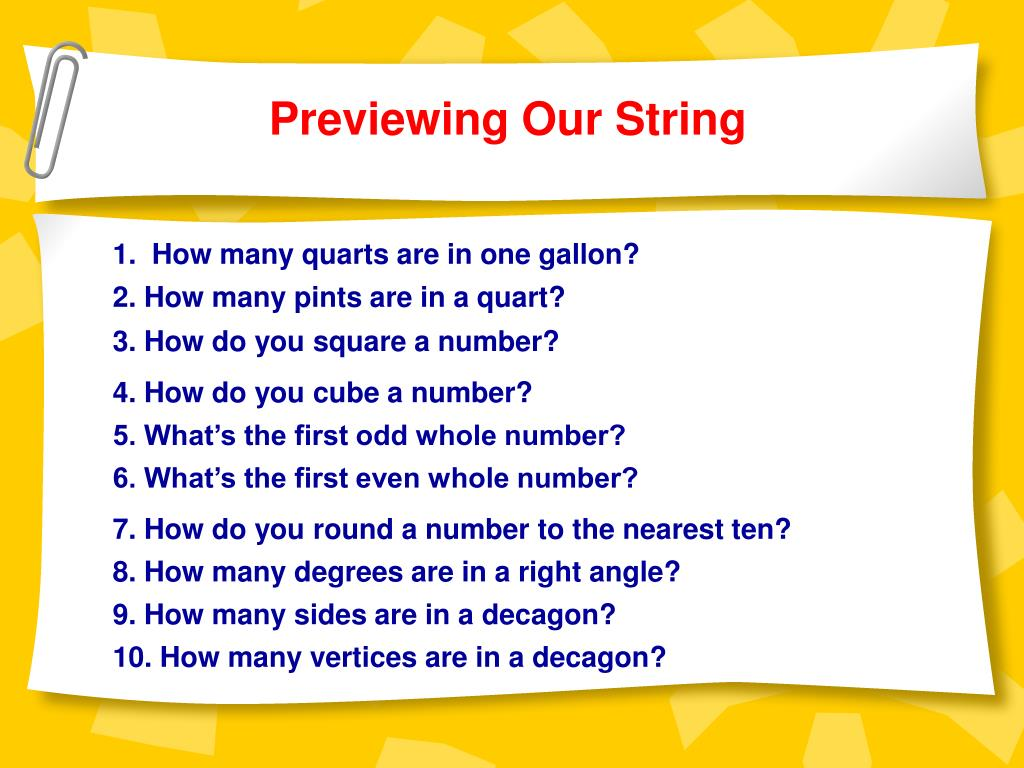 Previewing Our String