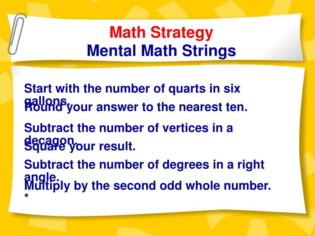Math Strategy