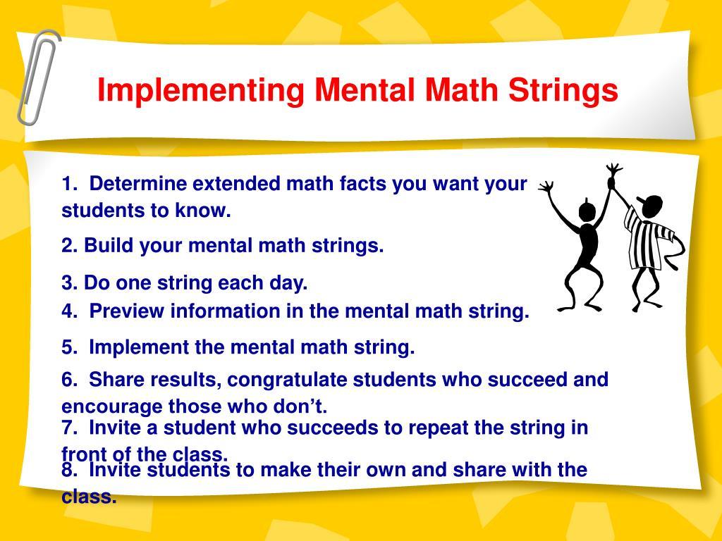 Implementing Mental Math Strings