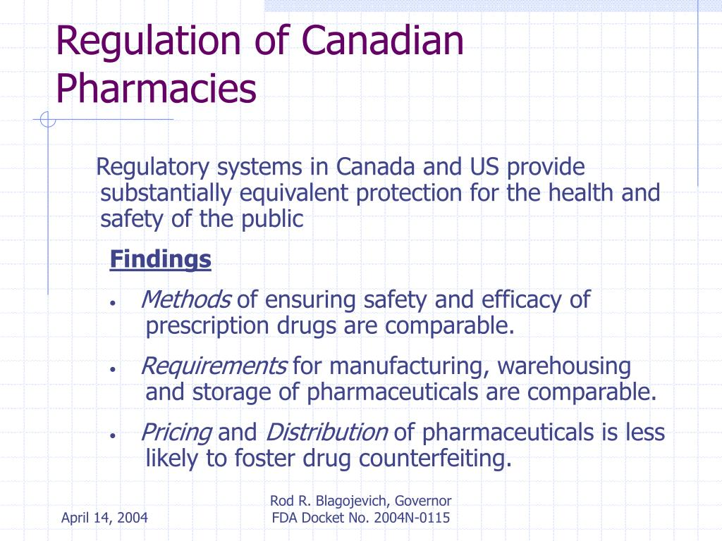 Regulation of Canadian Pharmacies