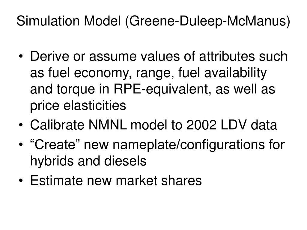 Simulation Model (Greene-Duleep-McManus)