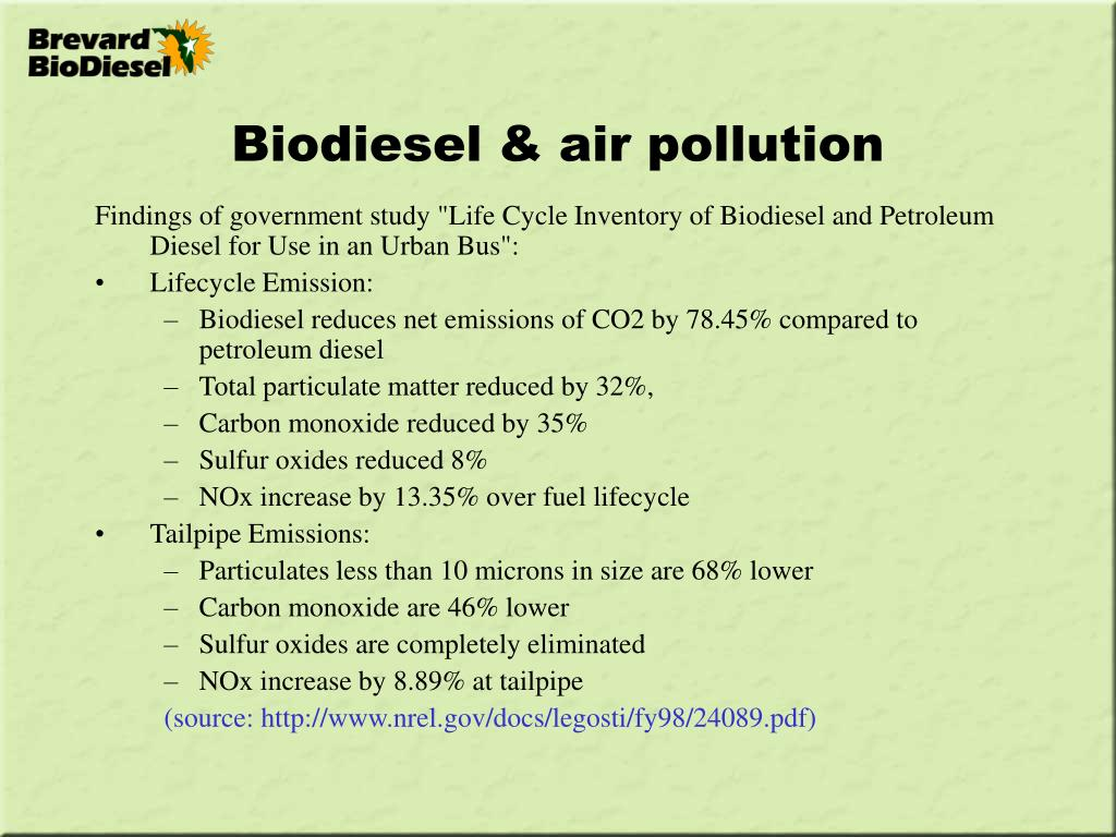 Biodiesel & air pollution