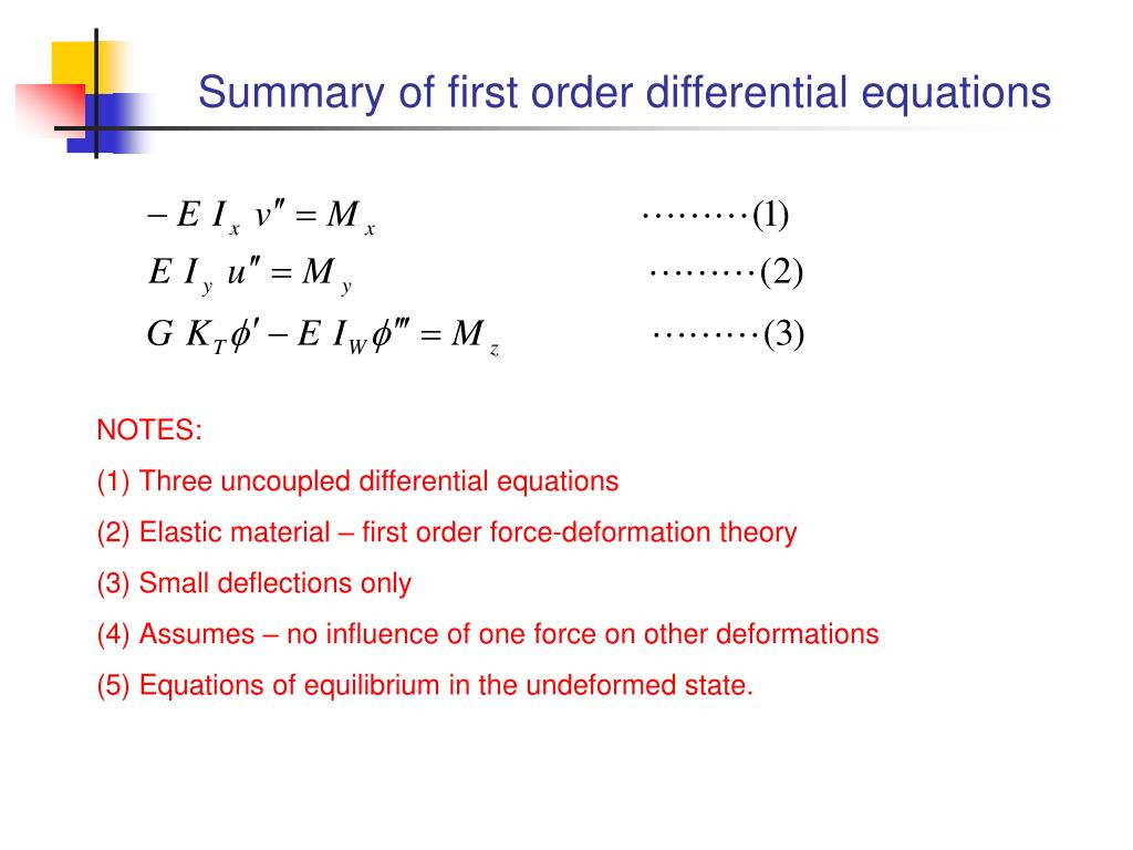Summary of first order differential equations