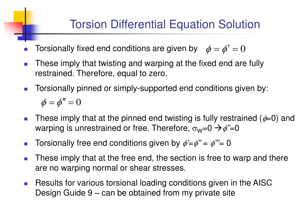 Torsion Differential Equation Solution