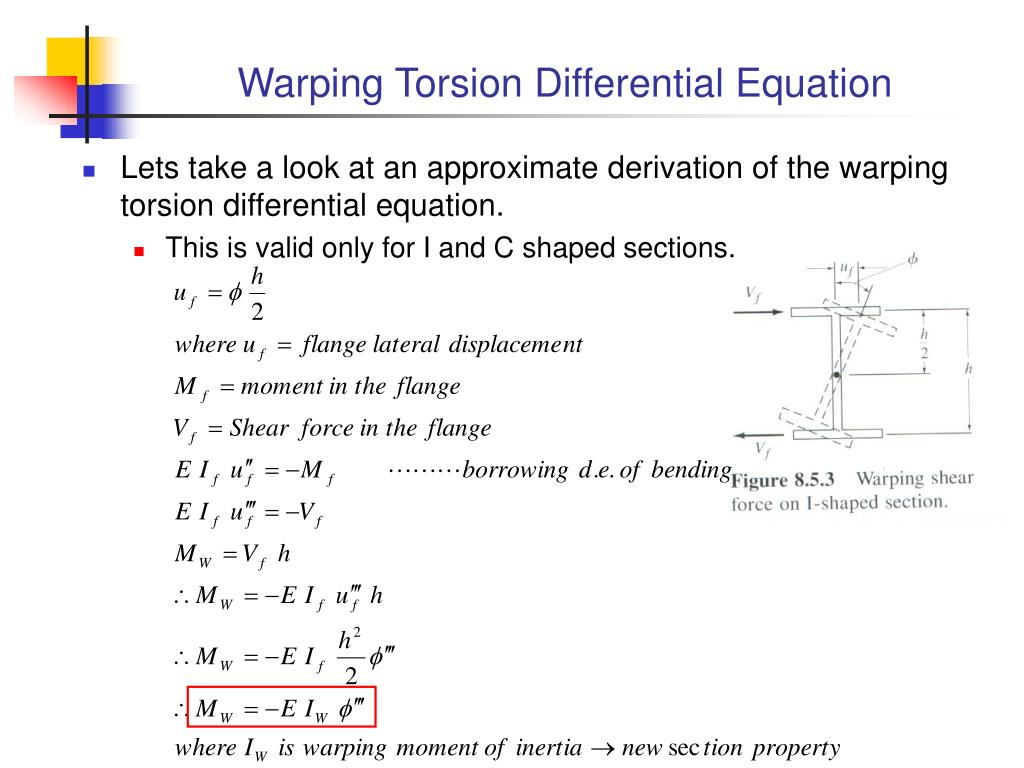 Warping Torsion Differential Equation