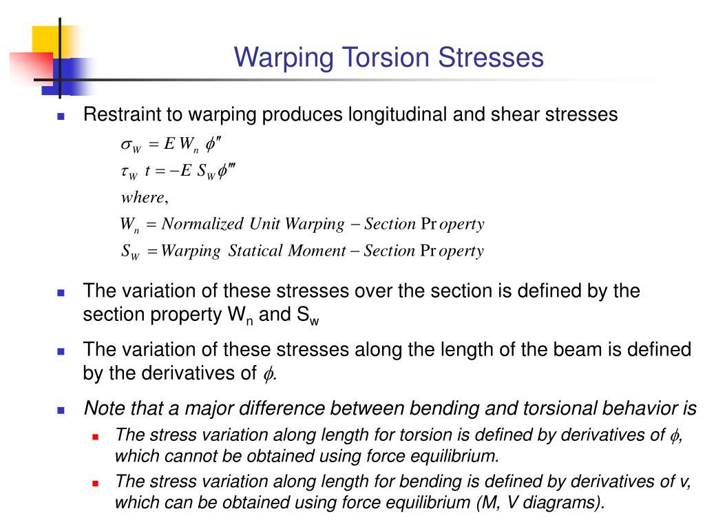 Warping Torsion Stresses