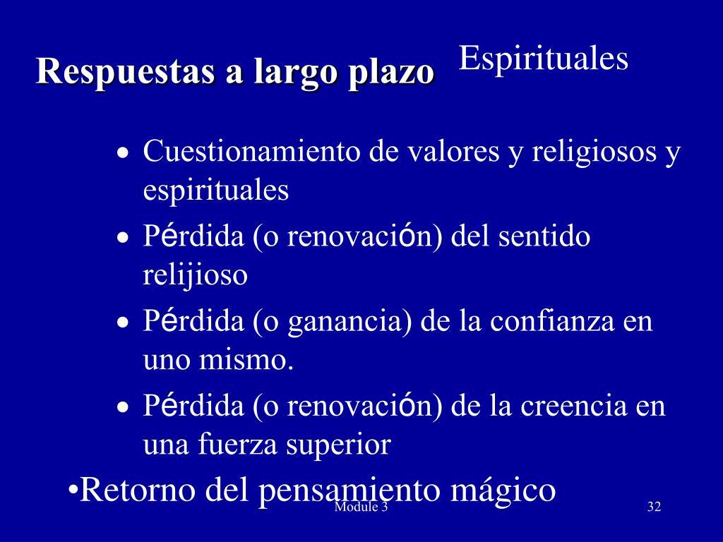 Cuestionamiento de valores y religiosos y espirituales