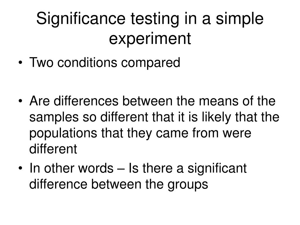 Significance testing in a simple experiment
