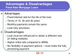 advantages disadvantages fixed rate mortgage loans