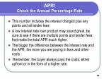 apr check the annual percentage rate