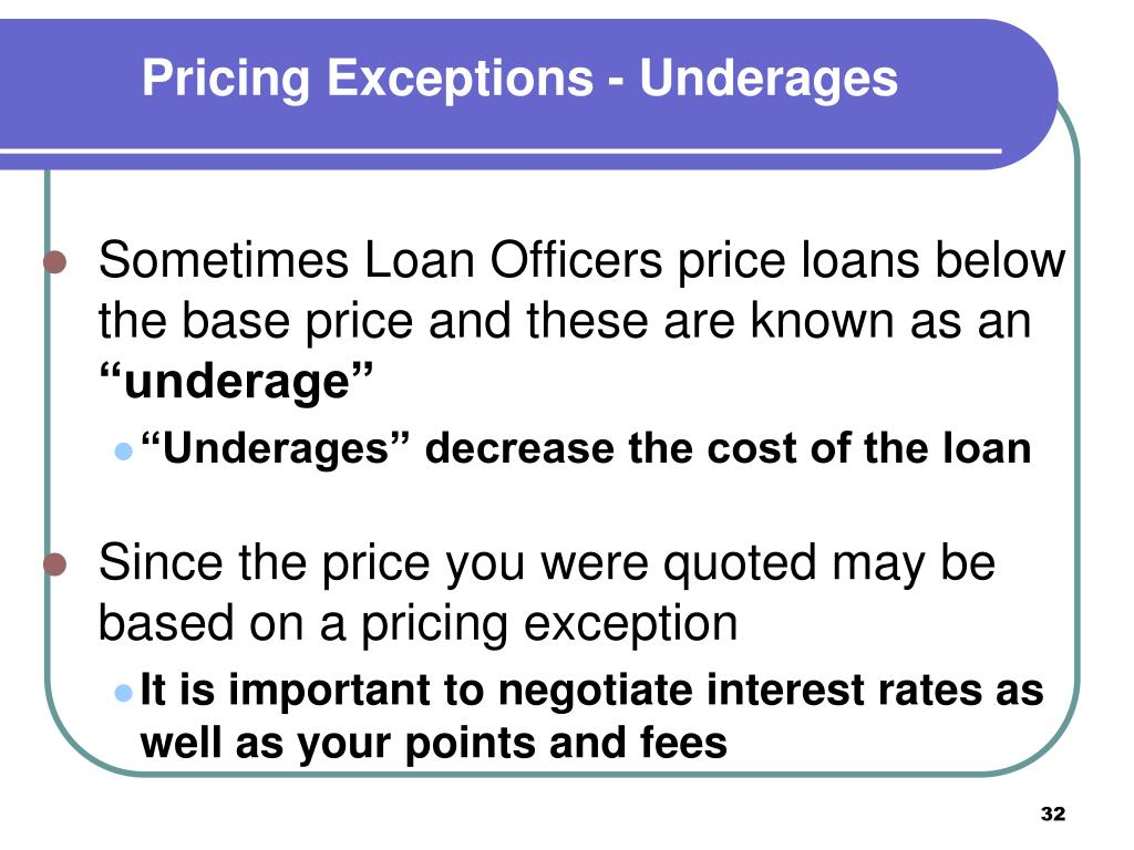 Pricing Exceptions - Underages